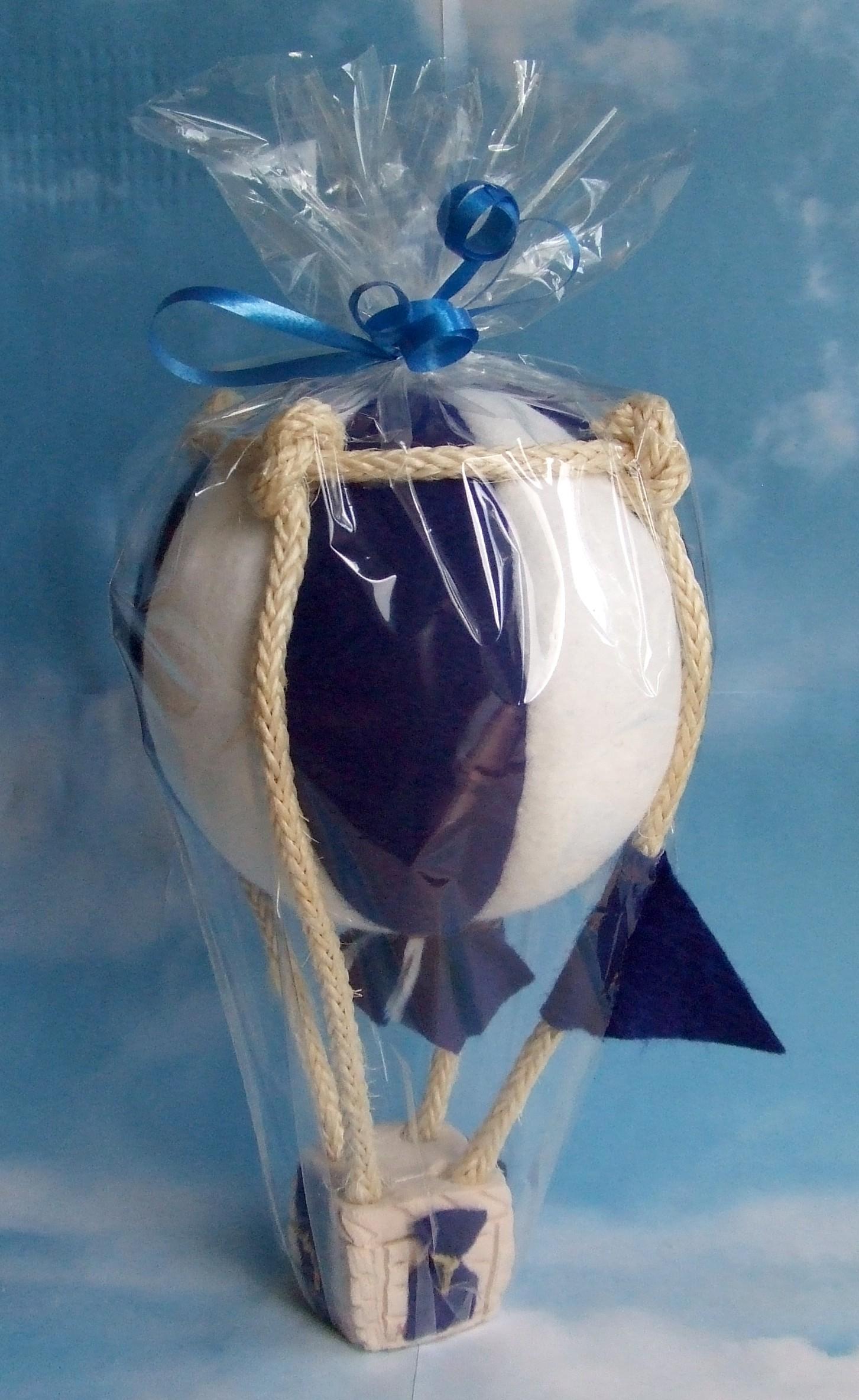 Modellballon kugelförmig blau/weiß