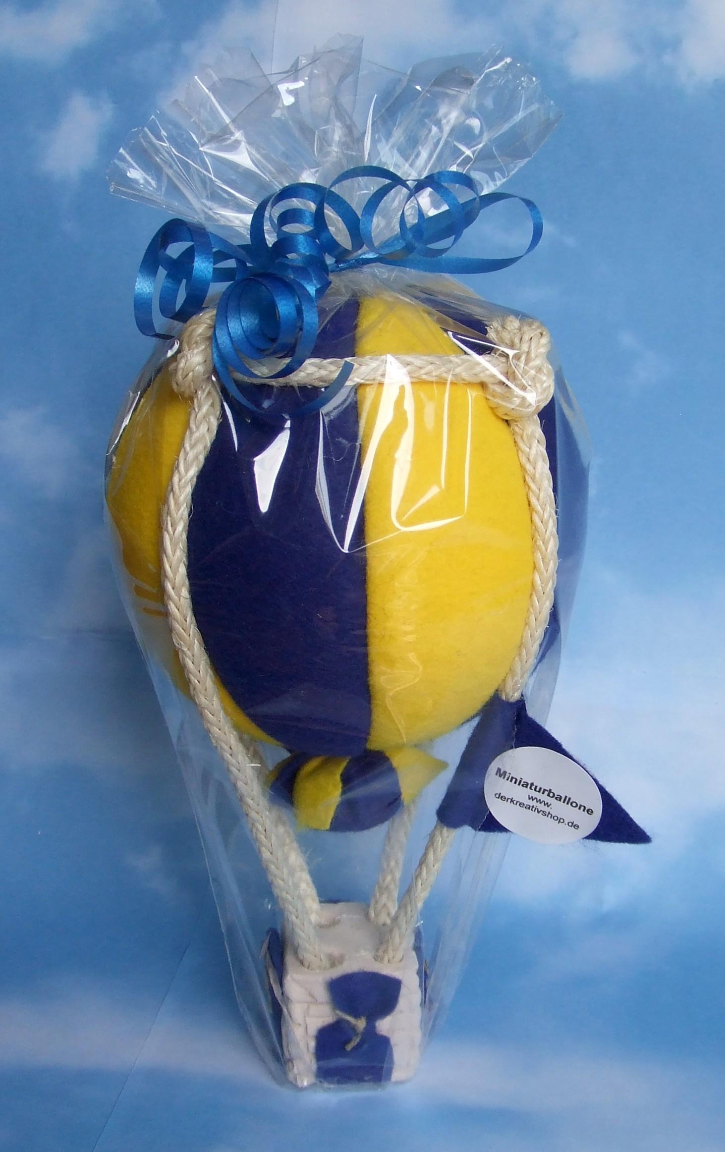 Modellballon kugelförmig blau/gelb