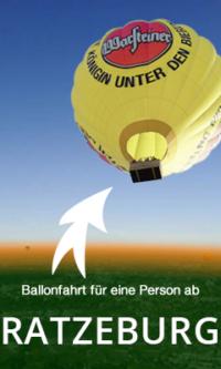 Ballonfahrt für eine Person, am Wochenende und Feiertags ab Ratzeburg..