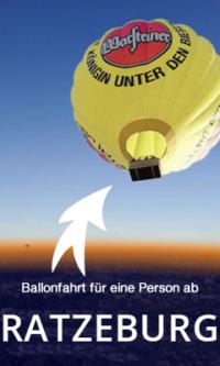 Ballonfahrt ab Ratzeburg für eine Person, wochentags.